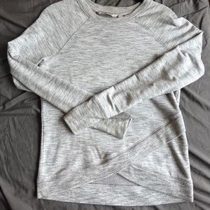 Athleta Criss Cross Sweatshirt - Grey Heather XXS